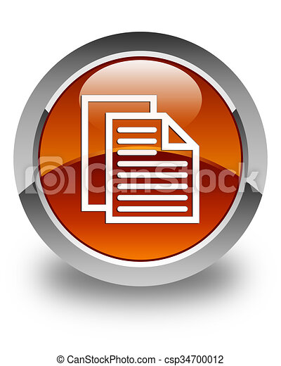 Document pages icon glossy brown round button - csp34700012