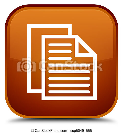 Document pages icon special brown square button - csp50491555