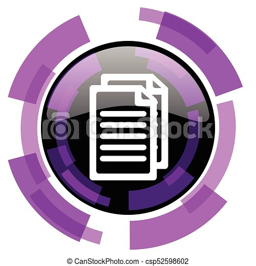 Document pink violet modern design vector web and smartphone icon. Round button in eps 10 isolated on white background. - csp52598602