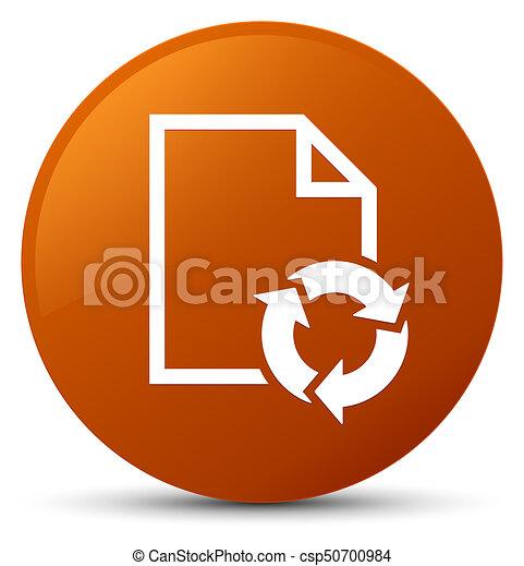 Document process icon brown round button - csp50700984