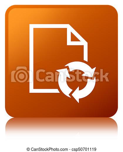 Document process icon brown square button - csp50701119