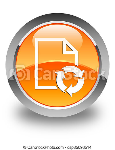 Document process icon glossy orange round button - csp35098514