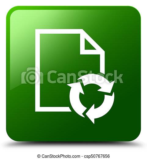 Document process icon green square button - csp50767656