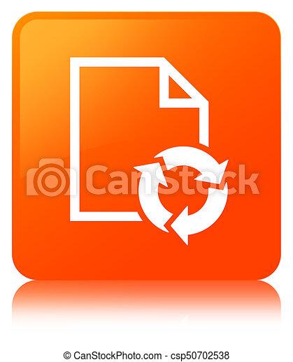 Document process icon orange square button - csp50702538