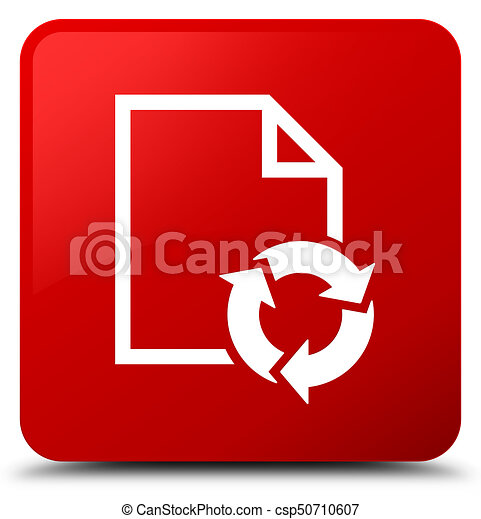 Document process icon red square button - csp50710607