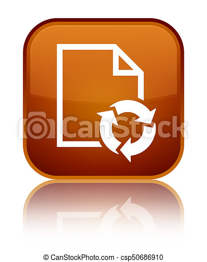 Document process icon special brown square button - csp50686910