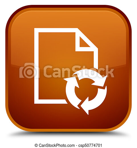 Document process icon special brown square button - csp50774701