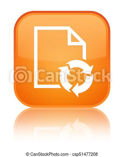 Document process icon special orange square button - csp51477208