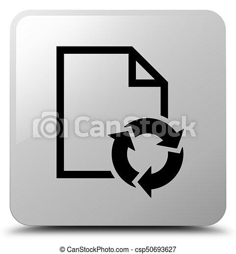 Document process icon white square button - csp50693627