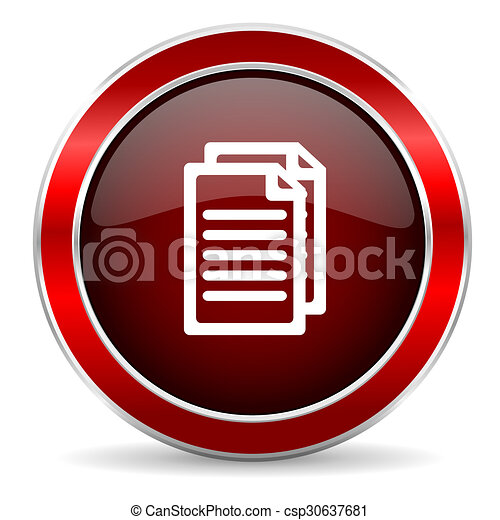 document red circle glossy web icon, round button with metallic border - csp30637681