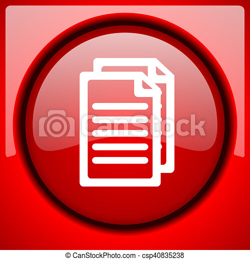 document red icon plastic glossy button - csp40835238