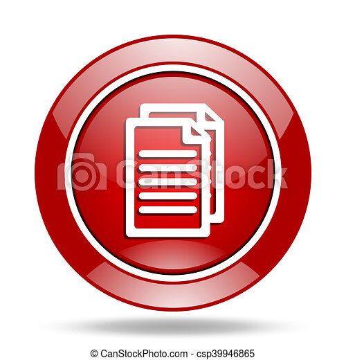 document red web glossy round icon - csp39946865