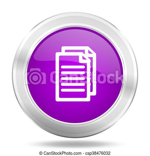 document round glossy pink silver metallic icon, modern design web element - csp38476032
