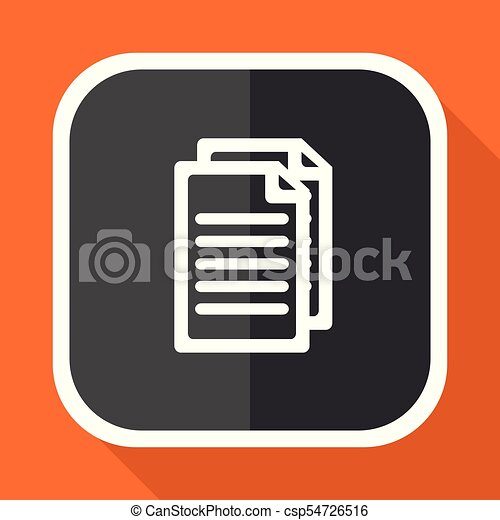 Document vector icon. Flat design square internet gray button on orange background. - csp54726516