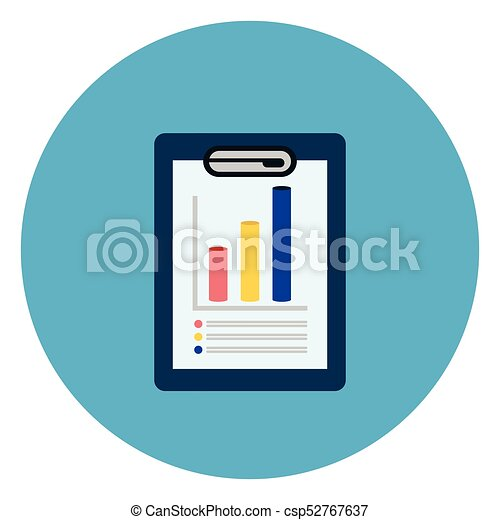 Document With Data Charts Icon Web Button On Round Blue Background - csp52767637
