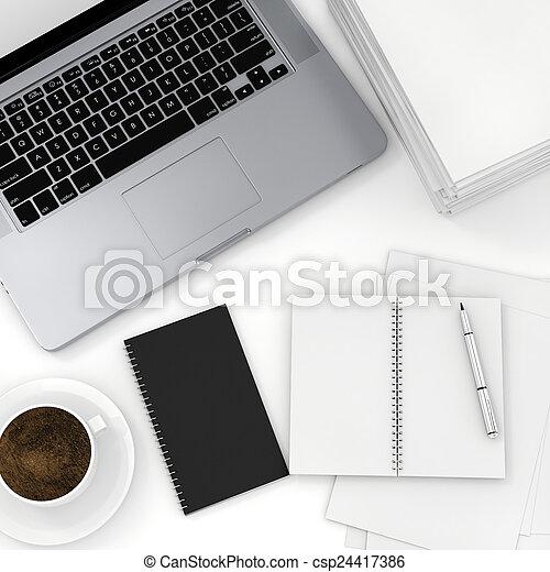 documenti, ufficio, cima, scrivania, vista, laptop, 3d - csp24417386