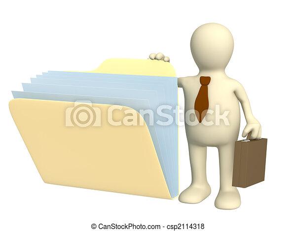 Tercer títere, abriendo carpetas con documentos - csp2114318