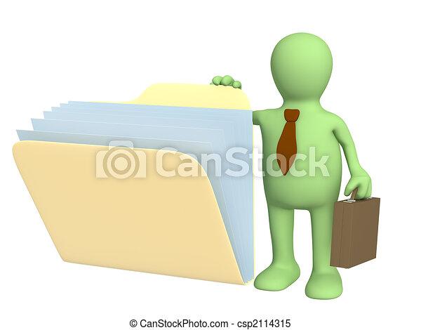 Tercer títere, abriendo carpetas con documentos - csp2114315