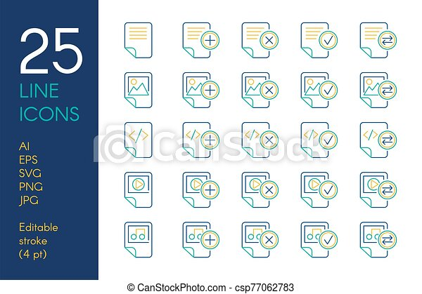 Documents and files color linear icons set - csp77062783