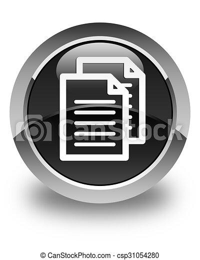 Documents icon glossy black round button - csp31054280