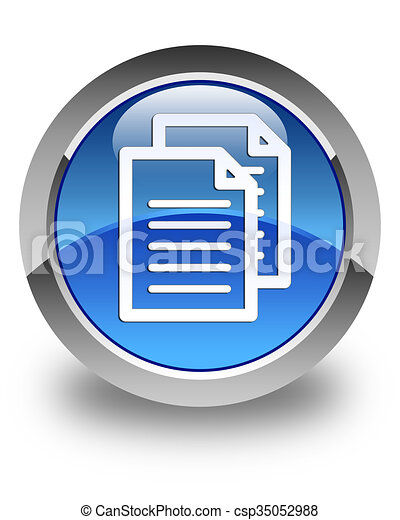 Documents icon glossy blue round button - csp35052988