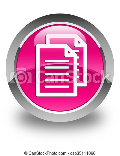 Documents icon glossy pink round button - csp35111066