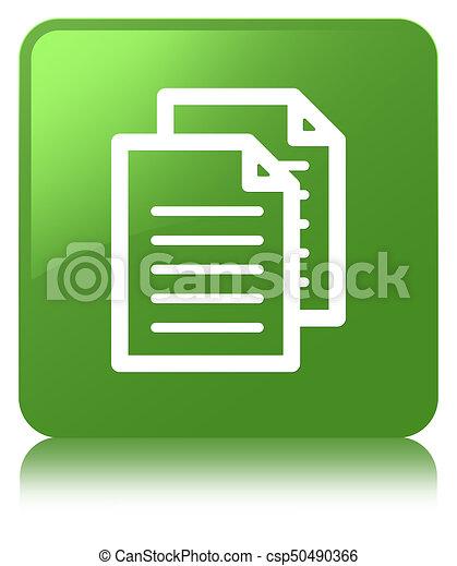 Documents icon soft green square button - csp50490366