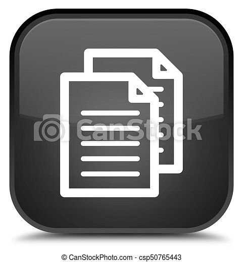 Documents icon special black square button - csp50765443