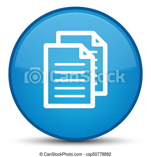 Documents icon special cyan blue round button - csp50778882