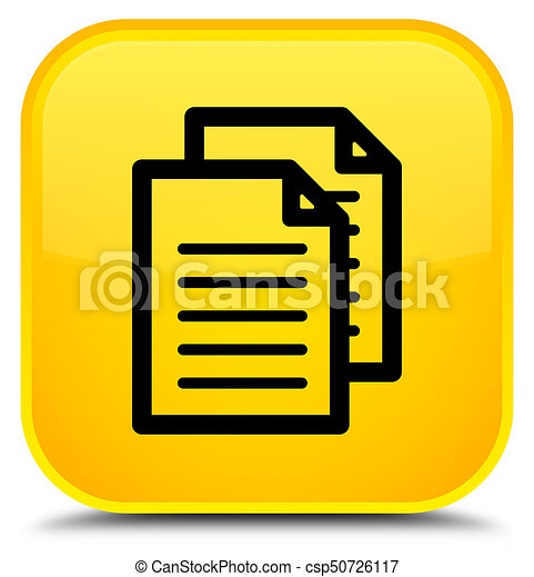 Documents icon special yellow square button - csp50726117