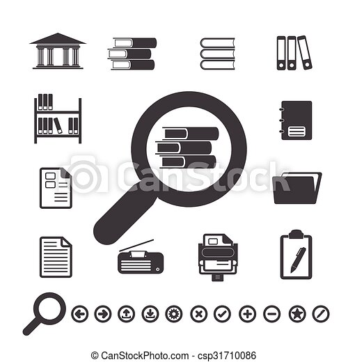 Documents Icons and Library icon. - csp31710086
