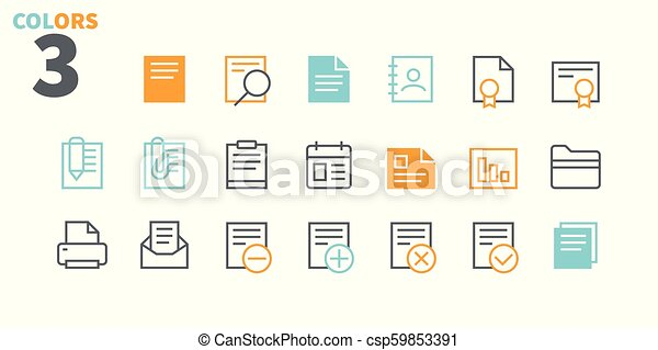 Documents Pixel Perfect Well-crafted Vector Thin Line Icons 48x48 Ready for 24x24 Grid for Web Graphics and Apps with Editable Stroke. Simple Minimal Pictogram Part 1-1 - csp59853391