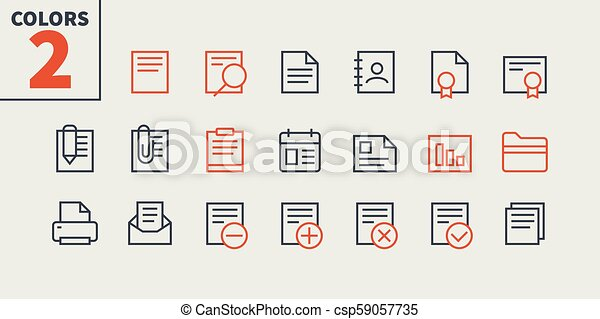 Documents Pixel Perfect Well-crafted Vector Thin Line Icons 48x48 Ready for 24x24 Grid for Web Graphics and Apps with Editable Stroke. Simple Minimal Pictogram Part 1-1 - csp59057735
