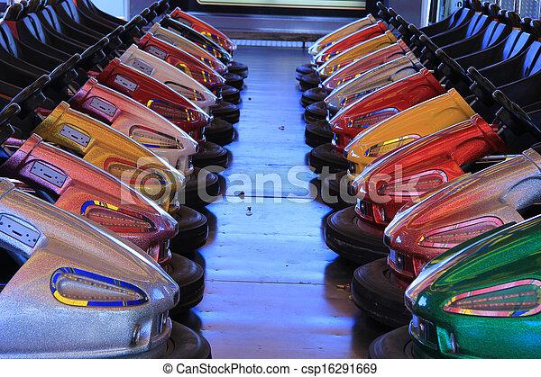 Dodgem cars in a row - csp16291669