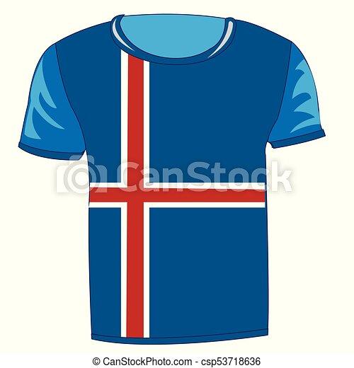 doek, vlag, ijsland. geïsoleerde, ijsland, t-shirt, vlag