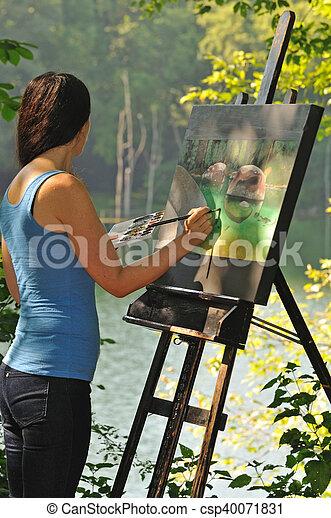 doek, vrouw, buiten, artistiek, acrylic schilderstuk - csp40071831