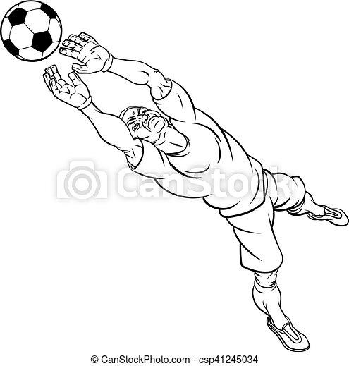doel voetbalspeler oppasser voetbal spotprent bal