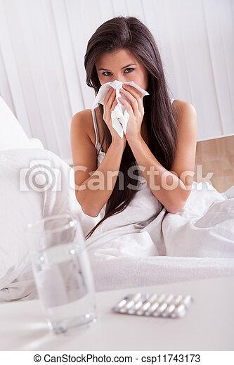 doente, mulher, gripe, gelado, cama - csp11743173