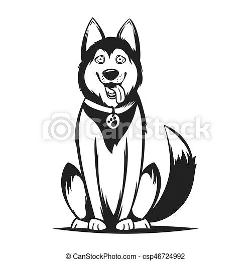Dog ハスキー ベクトル イラスト モノクローム Dog 隔離された