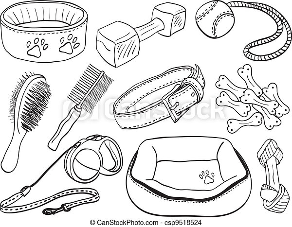 Dog Accessories - Pet Equipment Hand-drawn Illustration Sketch Style.