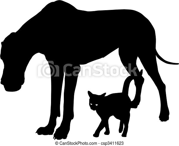 Dog and cat, friends - csp3411623