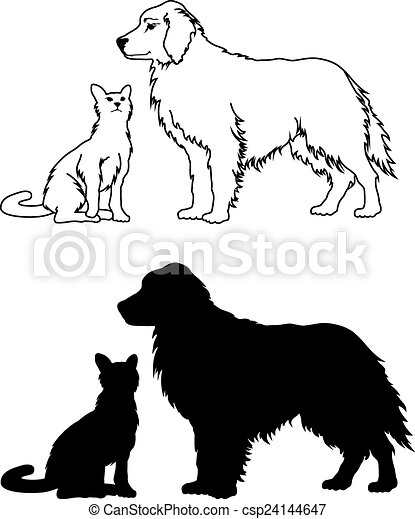 Dog and Cat Graphic Style - csp24144647