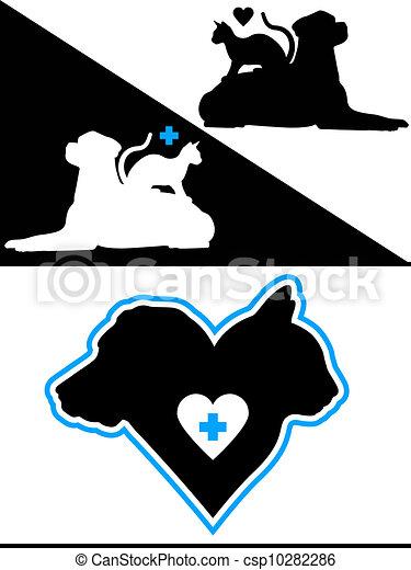 Dog and Cat Hearts - csp10282286