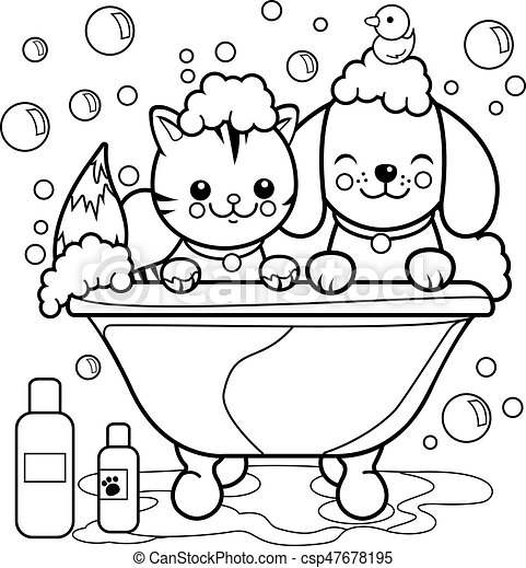 Dog and cat in a tub taking a bath. Vector black and white coloring page