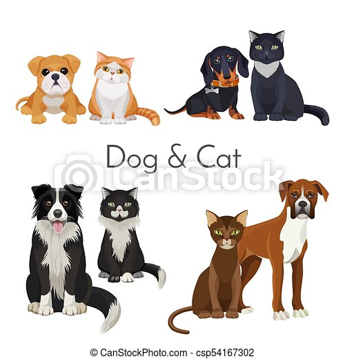 Dog and cat promotional poster with grown animal and babies - csp54167302