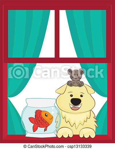Dog And Fish And Mouse Looking Out Of A Window