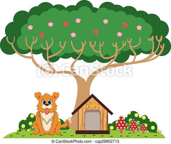 dog and house under the tree colourfull rh canstockphoto com tree house clip art free tree house clipart free