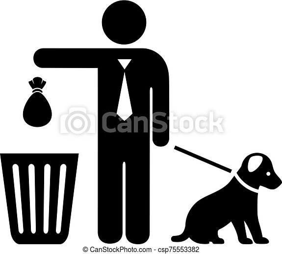 Dog and owner with trash bag vector icon - csp75553382