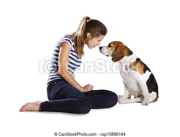 Dog and woman in studio - csp15896164