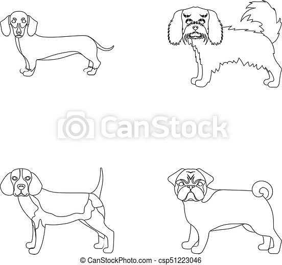 Dog Animal Domestic And Other Web Icon In Outline Style Dachshund